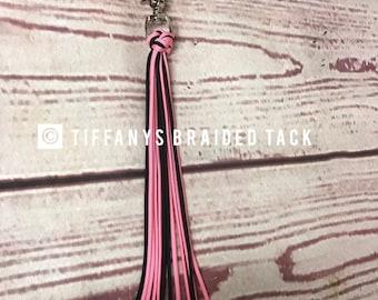 Shoo fly, fringe, draft horse tack, cinch, girth, cinch tassel, fly tassel, pink horse tack