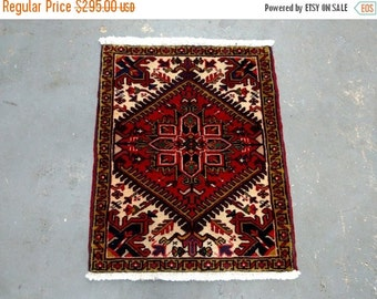 YEAR END CLEARANCE 1990s Hand-Knotted Vintage Heriz Persian Rug (3419)