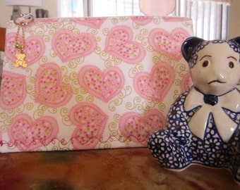 Pink Hearts with Gold Swirls/Kaboodle Bag