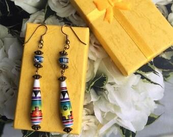 Peruvian Ceramic Aztec Bead Dangle Earrings