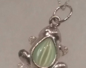 Sterling Silver 925 Necklace Frog Charm Green Stone Froggy Lover Frog Frogs Lime Crystal Womans Womens 16 inch Box Chain Teen Girl Gift