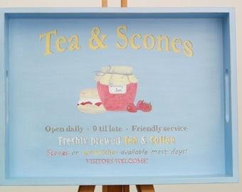 Hand Painted Garden Tray, Wooden Tray, Tea Tray, Coffee Table Tray, Serving Tray, Blue, Kitchen Tray, Breakfast Tray, Rustic, Shabby Chic