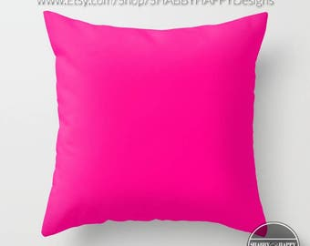 Solid Color FUSCHIA Pillow Zippered Cushion Case Cover /Modern Minimalist Basic Art Indoor or Outdoor 2-Sided 16X16 18X18 20X20 Cotton
