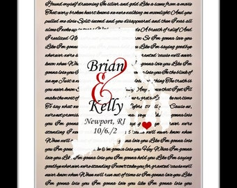 Wedding gift to son, daughter, bride, groom, any state custom map wall art, rhode island song lyric map, rhode island state print wall decor