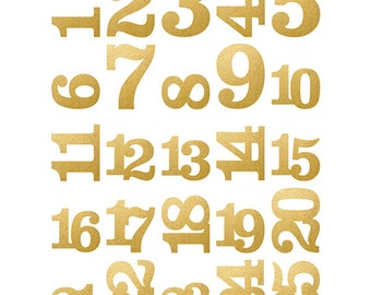 Simple Stories - Classic Christmas - Pocket Pieces Die Cuts 25 Pack Gold Foil Numbers
