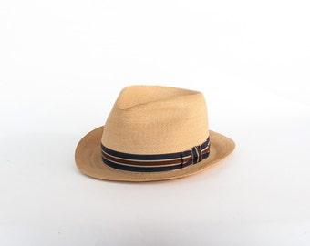 Vintage 60s Fedora / Men's 1960s Dobbs Panama Straw Hat