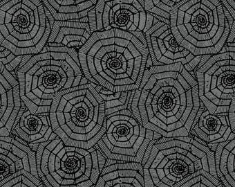 Grey Spider Webs - Here for the Boos - Wilmington Prints - Halloween Fabric - Black Spider Webs - Grey Background - Insect Fabric - Spider