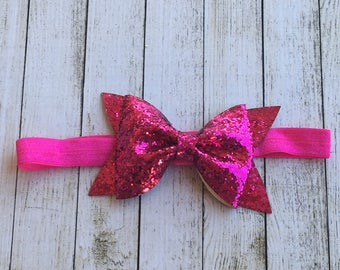 Bright Pink Glitter Bow Headband
