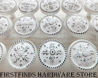 10 White Knobs Drawer Pulls Shabby Chic Kitchen Cabinet Hardware Painted Metal Medium Door Cupboard Snowflakes Distressed ITEM DETAILS BELOW