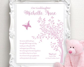 BAPTISM Gift for GODDAUGHTER - Communion Gift - 8x10 Print - Christening Gift - Personalized Dedication Gift - Gift from Godmother/Godfather