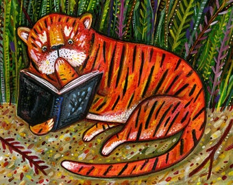 Tiger is Reading Your Diary! Card - Tiger Card - Diary Card - A7 Greeting Card