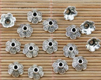 100pcs tibetan silver plated crafted textured bead cap EF2385