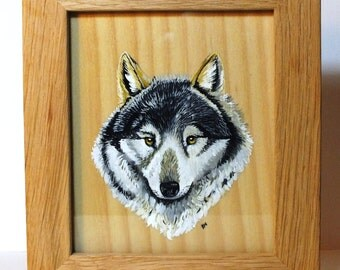 Wolf Painting on Wood
