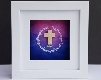 Wooden Cross Framed Gift Religious Verse Gift First Holy Communion Gift Catholic Gift Bible Verse Godparents Baptism Gift Goddaughter Gift