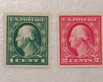1916 US Postage StampS, Scott # 481 & 482 Imperforate Washington, 1 Cent, MH