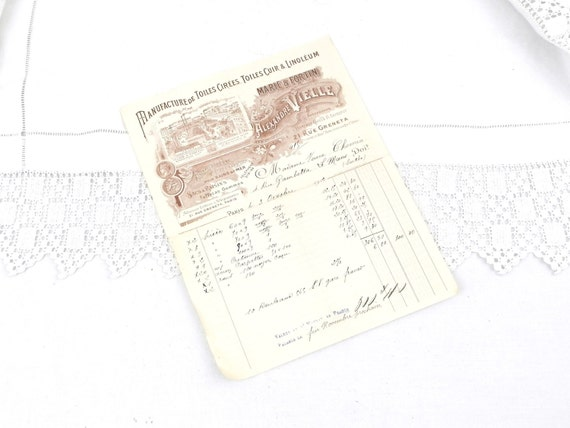 Antique French Paper Reciept from Linoleum Factory in Paris Dating 1912, Graphics, French Decor, Scrap booking, Collectible, Lino, Retro
