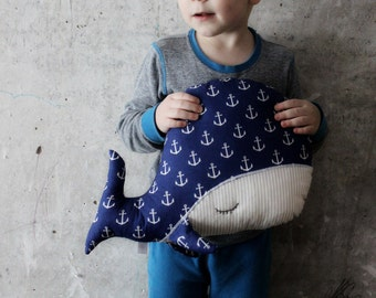 Sleepy whale pillow nursery decor 10x15' primitive stuffed animal toy nautical nursery boho bohemian travel pillow navy blue white anchors
