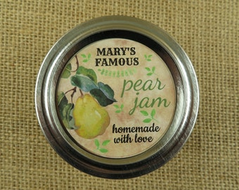 Personalized Canning - Vintage Pear Design - 20 4 Oz  Mason Jars Jars or 12 8 Oz Square Mason Jars With Custom Labels - vfc