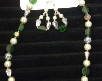Green Crystal Beaded Necklace Set
