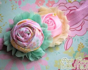 Spring Bits - Headband, Baby Headband, Photography Prop, Couture Headband, Hair Clip, Spring Headband, Easter Headband, Rolled Rosette