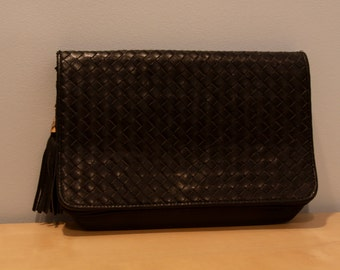 Vintage Black Woven Leather Clutch with Tassel by Aurielle