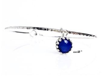 Genuine Blue Sapphire Bracelet / Sapphire Charm Bangle / September Birthstone / New Mother Gift / September Birthday Gift for Her /
