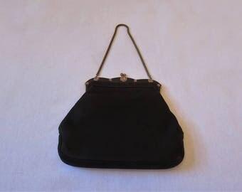 Black Antelope Suede Evening Bag, Purse - 1950s