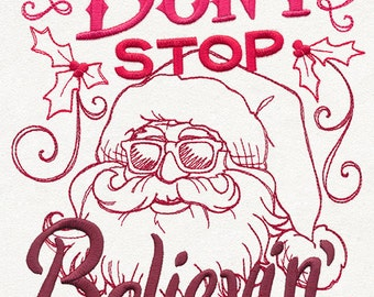 Don't Stop Believin' Embroidered on Made-to-Order Pillow Cover