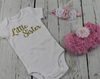 Little Sister Outfit Pink Bloomers Pink Headband Lil Sis Bodysuit Baby Girl Take Home Outfit Set Light Pink Baby Shower Gift Big Sister