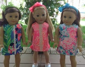 """NEW LILLY PRINTS - American Doll Authentic Lilly Pulitzer® Fabric Dress - 18"""" Doll Lilly Dress - American Doll Clothes - 2017 Spring Prints"""