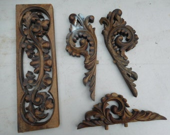 Carved Wooden Pediment/Architectural Detail