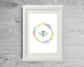 Bee print - Flower crown bee print - Bee watercolor print - Bee prints - Flowers print - Spring bucolic print - Bucolic poster - Bee art