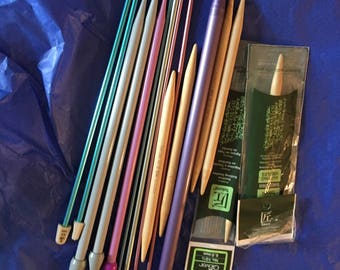 Mixed lot of Knitting needles bamboo metal nice collection