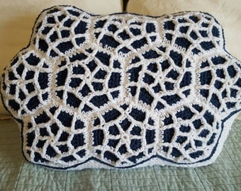 Crochet pillow, Moroccan blue and white