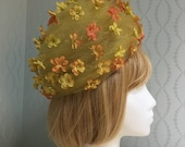 1960's Christian Dior Yellow Tulle & Floral Hat