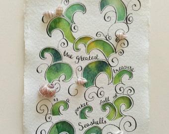 Seashell papercut original mixed media artwork. A6. The greatest treasure.