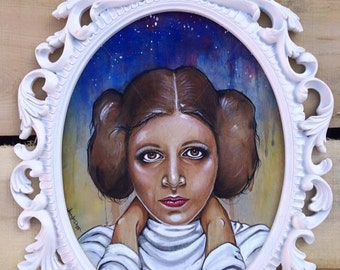 Princess Leia Star Wars Carrie Fisher Watercolor Painting Art By Jen Duran