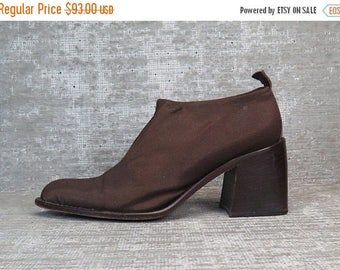 Vtg 90s Copper Brown Neoprene Chunk Heel Elastic Slip on Shoes 7