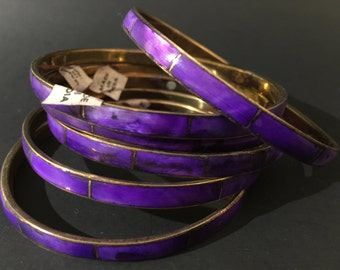 Vintage: Set of 6 Purple Mother of Pearl BRASS Bangles - 1970's Jewelry - Shell Inlay Brass Bracelets - Made in India - Boho - Gipsy