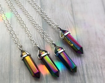 "AURA CRYSTAL necklace rainbow quartz point Choker on silver 18"" chain or tattoochoker black rainbow or silk cord"