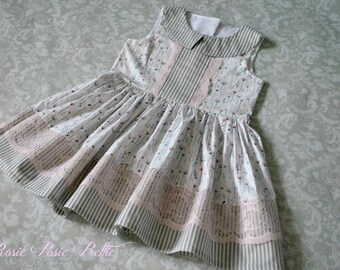 Easter Dress, Size 5 Ready to Ship Dress, Girls Dress, Spring Dress, Summer Dress, Girls Easter Dress, Pink and Gray Dress, Handmade Dress