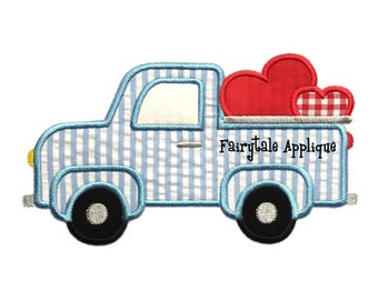 Digital Machine Embroidery Design - Valentine Truck Applique