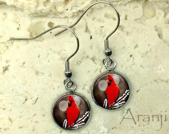 Glass dome cardinal earrings, cardinal earrings, cardinal drop earrings, cardinal dangle earrings AN156DP