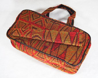Vintage 60's Tapestry Handbag with Umbrella Holder