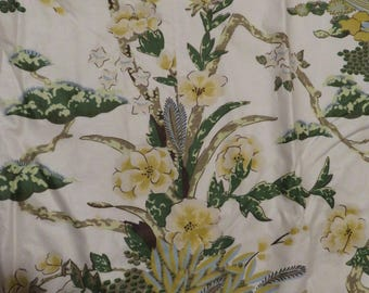 Lovely Vintage Pair of Tropical/Floral Drapery/Curtains-Pinch Pleat-Lined/Yellow,Green,Blue,Gray,Brown