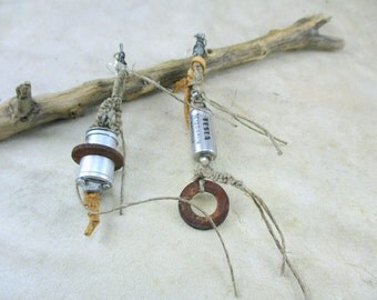 Steampunk Earrings, Asymmetric Dangle Earrings, Art Jewelry Unique, OOAK, Assemblage Jewelry,  earrings with capacitors , capacitor earrings