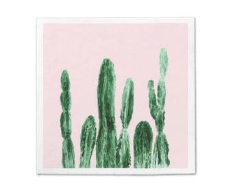 Pink Cactus Napkins, Standard Luncheon, cactus napkins, cactus party, cocktail napkins, cactus napkin, succulent napkin, blush pink napkins
