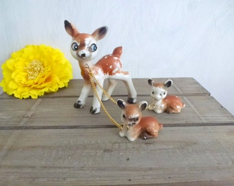 deer statue with babies- ceramic midcentury animals