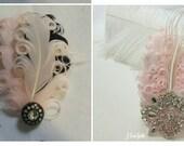 Blush pink and rhinestone boutonniere to match prom corsage, blush feather boutonniere, Gatsby boutonniere, pink boutonniere, blush dress