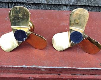 Candlesticks Brass Propeller Nautical Screw Mid Century Modern Prop Candleholders